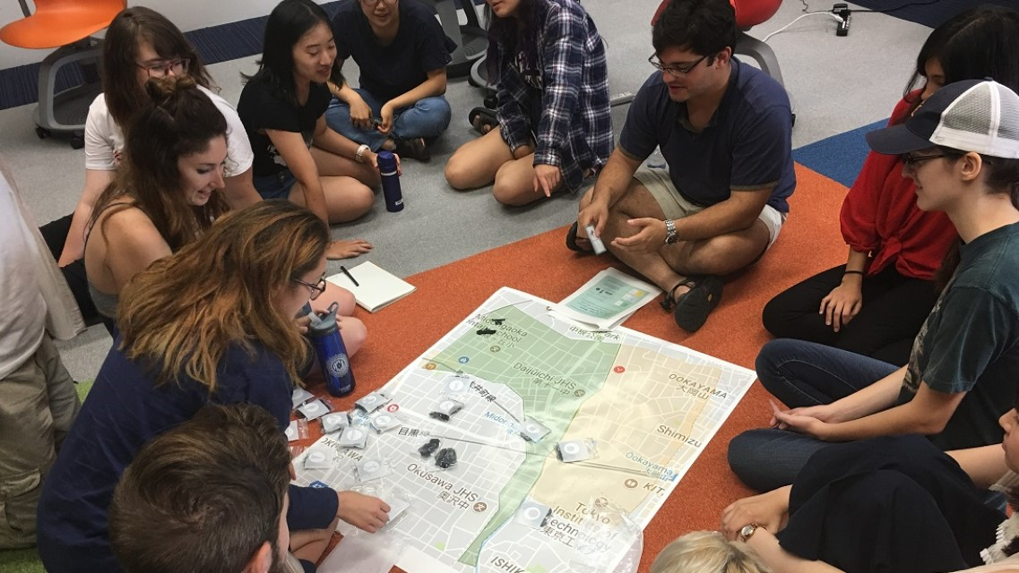 Students engaged in a Japan study abroad